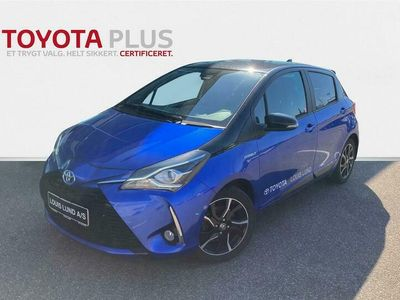 brugt Toyota Yaris 1,5 B/EL Flavour BLÅ E-CVT 100HK 5d Trinl. Gear A++