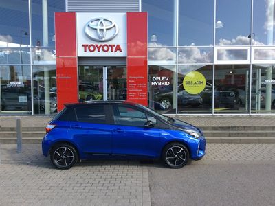 brugt Toyota Yaris 1,5 B/EL Flavour BLÅ E-CVT 100HK 5d Trinl. Gear