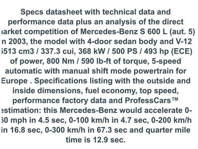 brugt Mercedes S500 5,6 S600 V12 biturbo