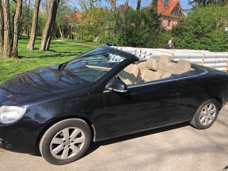 verkauft vw eos 2 0 fsi cabrio schwarz gebraucht 2008. Black Bedroom Furniture Sets. Home Design Ideas