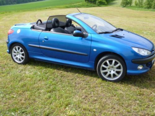 verkauft peugeot 206 cc cabrio blau me gebraucht 2001. Black Bedroom Furniture Sets. Home Design Ideas