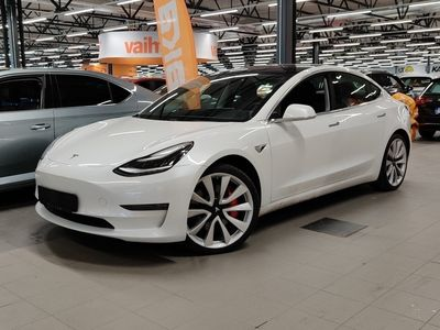 käytetty Tesla Model 3 Performance Dual Motor AWD ** Autopilot / Premium Connectivity / Lasikatto / Kamerat / Nahkasisusta