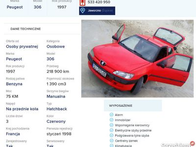 używany Peugeot 306 1.4 benzyna,75KM,air bag, 97' - MAŁE FERRARI :)