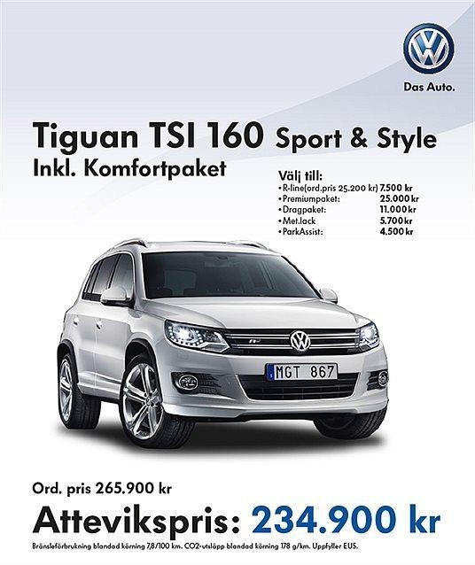Såld VW Tiguan 1,4 Tsi 160hk Sport., Begagnad 2014, 0 Mil