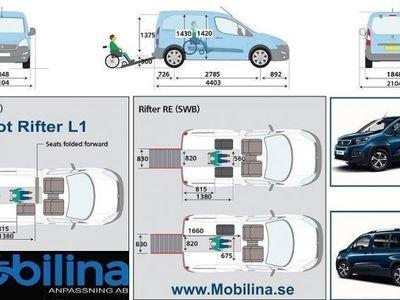 begagnad Peugeot Rifter Golvsänkt Rullstolsbil