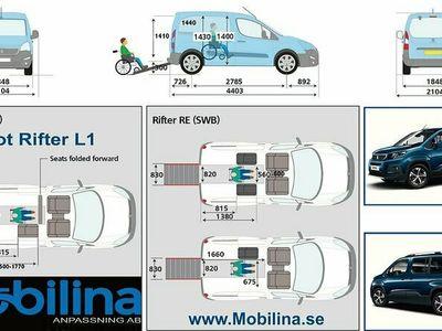 begagnad Peugeot Rifter Rullstolsbil Handikappanpassad