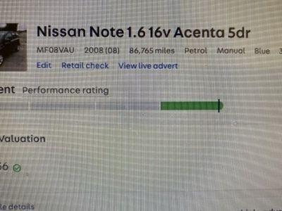 used Nissan Note Hatchback 1.6 Acenta 5d